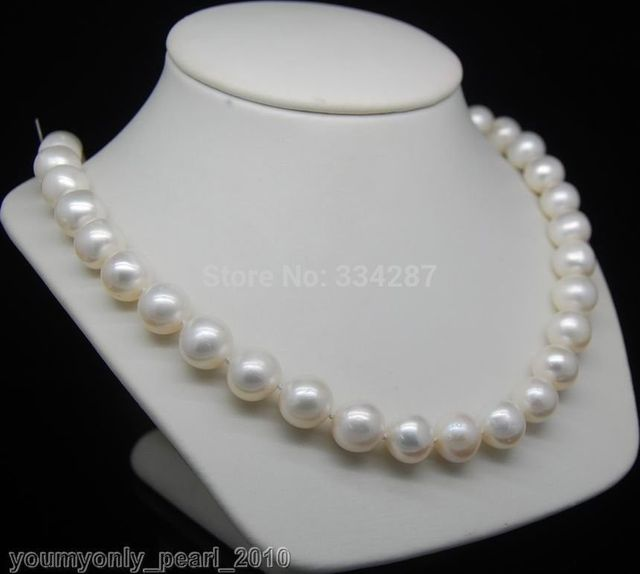 100% Selling Picture full Cultured 10-11mm AA+ white pearl necklaces 925S 18""