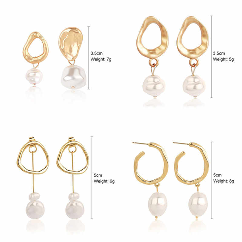 Natural Freshwater Pearl Pendant Drop Earrings for Women Geometric Irregular Asymmetric Gold Fashion ZA Jewelry Female Gift