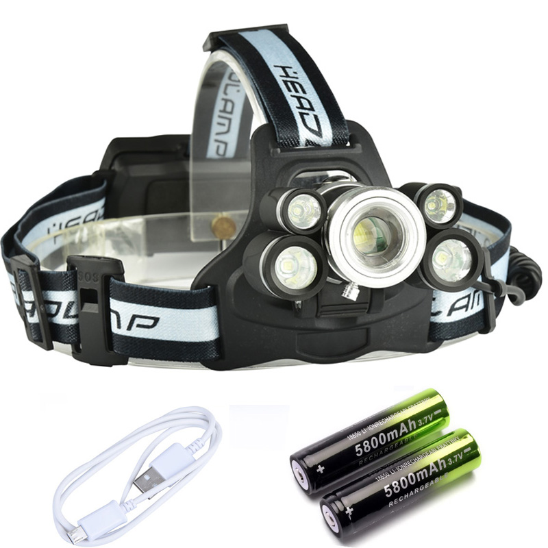 USB Rechargeable Zoom Headlight 50000lm 3*T6+2*Q5 LED Head Lamp Fishing Flashlight Torch Head Light 18650 Hunting Lantern