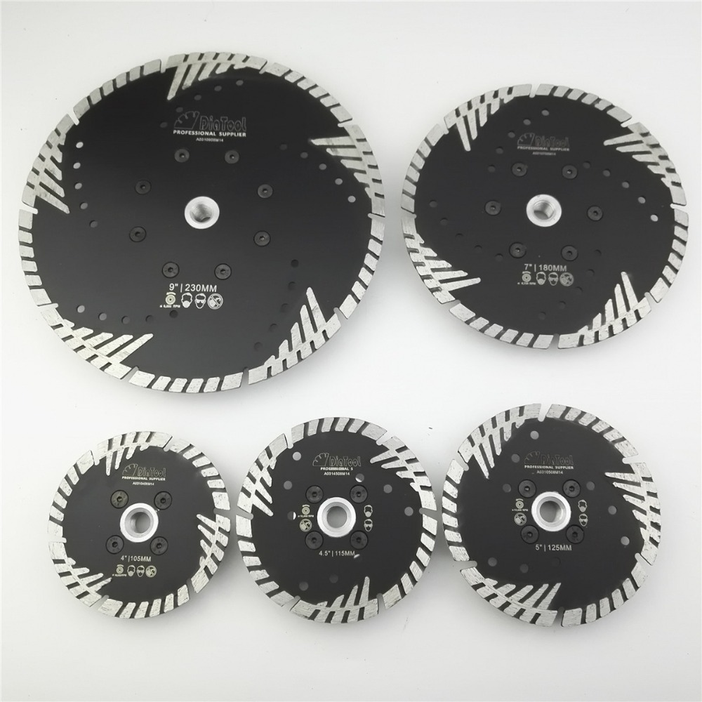 DIATOOL Hot pressed Diamond turbo Blade with Slant Triangle teeth Diamond cutting disc for Multi puprose Grinding wheel