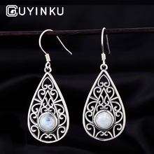 GUYINKU Real 925 Sterling Silver Drop Earrings Round Natural Moonstone Totem Trendy For Women Girls Engagement Gift