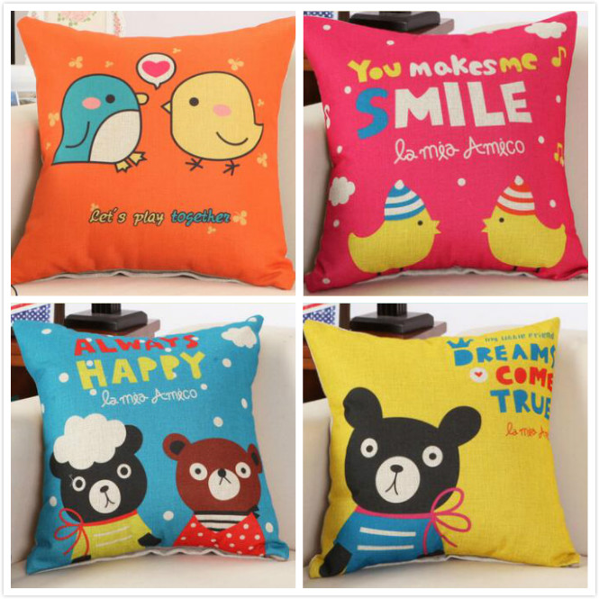 Cute cartoon children bear lovely printed linen cushion Cushion Cover covers sofa bed car home room Dec square wholesale FG153