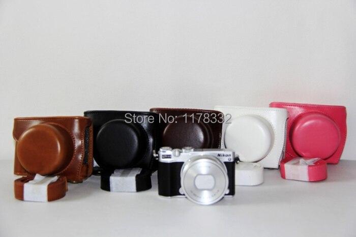 Leather Camera Case Bag+ Shoulder Strap for Nikon 1 J5 Digital Camera case 10-30mm