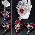 2016 New Women's Luxury Crown Waterdrop Crystal Rhinestone Brooch Pin Costume Accessory