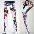 2016 fashion designer womens low waist painted jeans trousers ,  ladies denim long pants ,  female skinny jean pants for woman