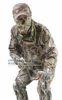 Primavera otoño transpirable camuflaje biónico Caza ropa 5 unids/set Tactical CAMO, Pantalones, sombrero, Cara máscara, guantes