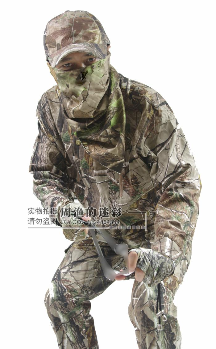 Spring Autumn Breathable Bionic Camouflage Hunting Clothing 5pcs/set Tactical Camo Jacket, Trousers, Hat, Face Mask, Gloves spring autumn military camouflage army uniform ghillie suit jacket and trousers hunting clothes with cap face mask for hunting