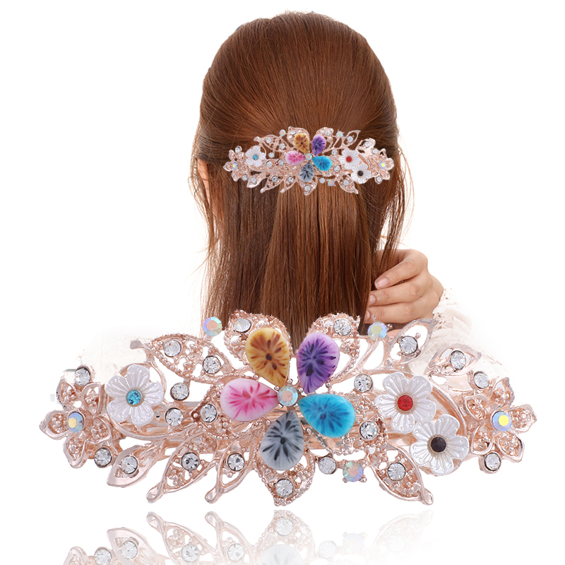 Hair Barrettes for Women Elegant Hair Clips Vintage Crystal Stone Hairpins Flower Hairgrips Party Wedding   Headwear