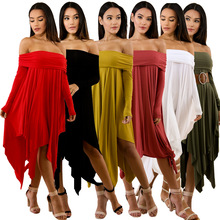 2019 hot selling Sexy solid color wrap dress Asymmetrical Knee-length Strapless 6 colors womens suit for Spring