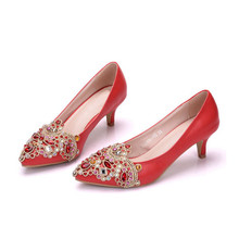 Red Rhinestone Pumps Wedding Party Shoes Middle Heel Pointed Toe Graduation Prom Dancing Shoes Crystal Bride Shoes XY-A0037