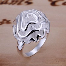 Hot sale Free shipping 925-silver plated Rose flower female Ring Fashion wedding party Rings jewelry crystal trendy for women