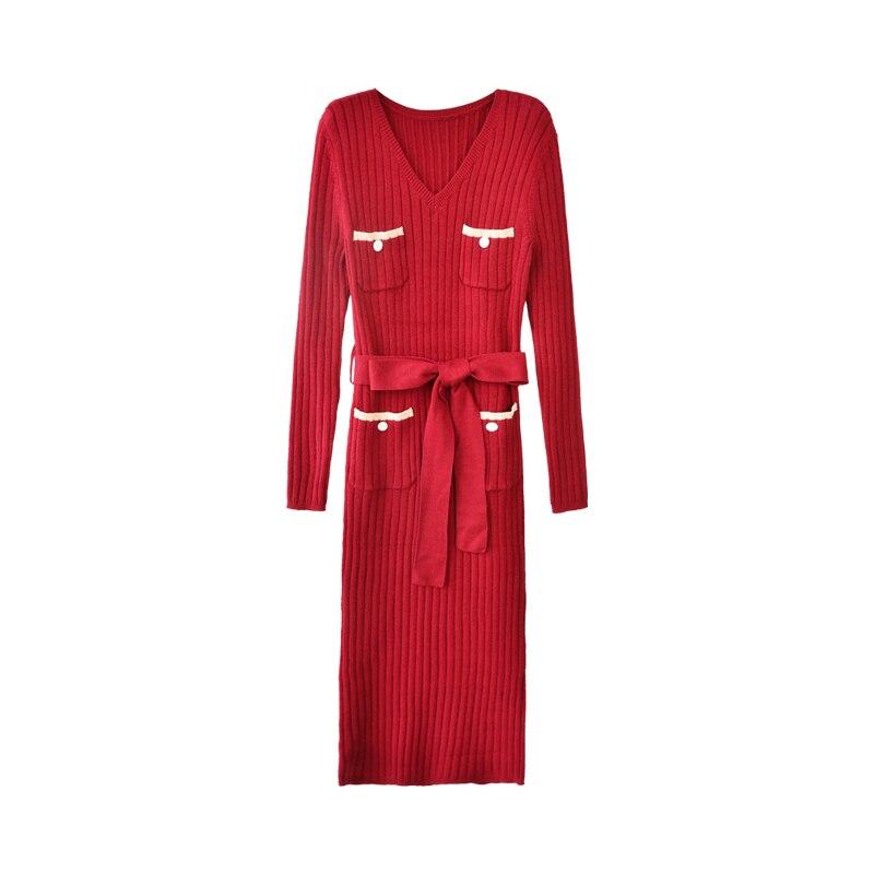 Beige Dress Scollo Dabuwawa Midi Office Lady Lavorato D18ddr019 borgogna Sexy Maglia Elegante Sottile Ragazze New Vestito Per V A Aderente Donne Le Primavera 1ErE0q8