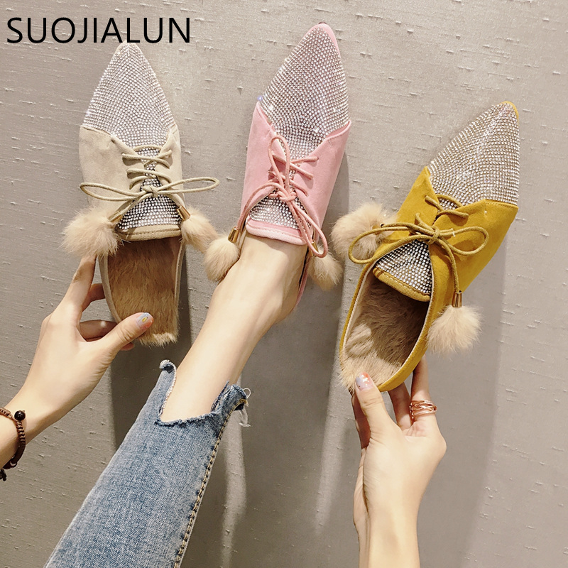 SUOJIALUN Fashion Bling Crystal Slippers Women Sexy Pointed Toe Mules Shoes Suede Plush Slip On Outside Slides Women Slides phyanic fashion women s slide on slip on mule star bee embroidery loafer flats shoes slides slippers new woman mules outside