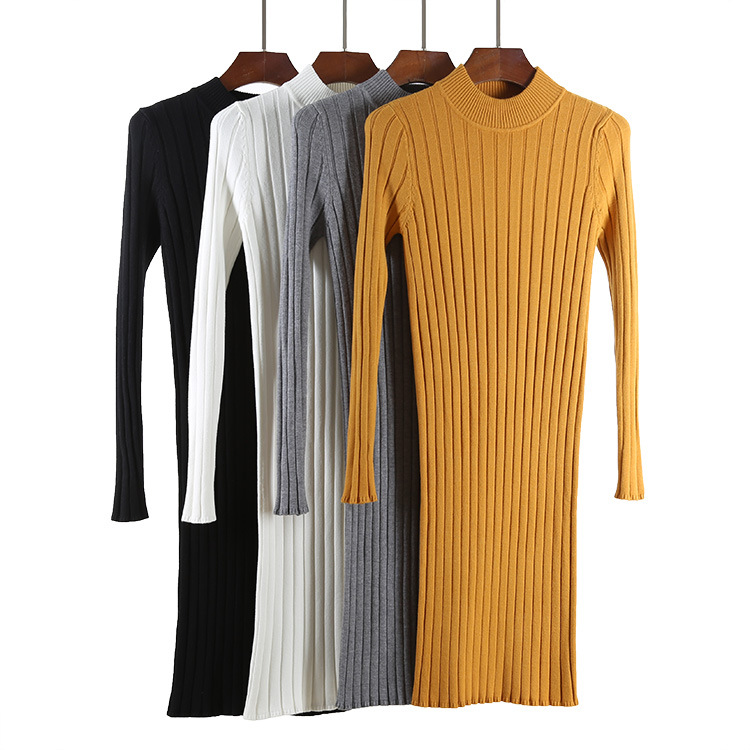 46c97d1b254 GOPLUS New Ribbed Knit Sweater Dress Spring Autumn Women Long Sleeves Mock  Neck Knitting Bodycon Mini Dresses C4778-in Dresses from Women s Clothing  on ...