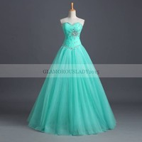 Cheap Mint Green Quinceanera Dresses Ball Gowns 2015 Real Picture Sleeveless Sweetheart For Girl Formal Party