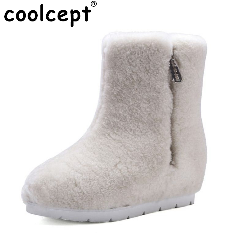 Winter Genuine Leather Women Ankle Boots Warm Thickend Sheep Fur Plush Snow Boots Feminina Fashion Zipper Women Shoes Size 34-39