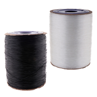 2 Rolls of 650m Clear/Black Stretch Elastic Cord Necklace Bracelet Beading Thread String 1mm Jewelry Making Accessories