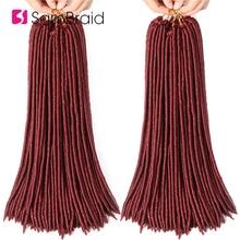 Sambraid 18inch Crochet Braids Faux Locs Hair Extensions Synthetic Braiding 24strands/pack Burgundy For Women