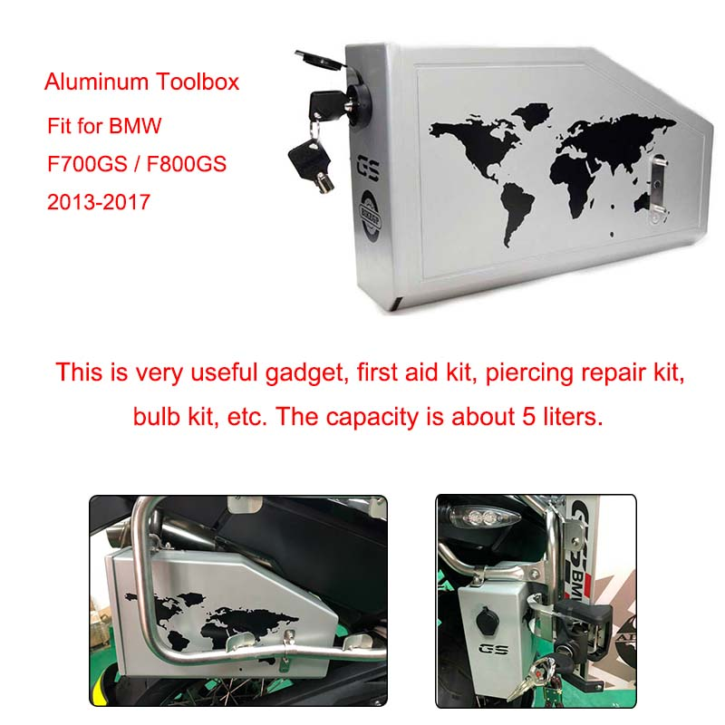 5 Liters Motorcycle Decorative Aluminum Box Toolbox Suitable for BMW F700GS F800GS 2013 2014 2015 2016