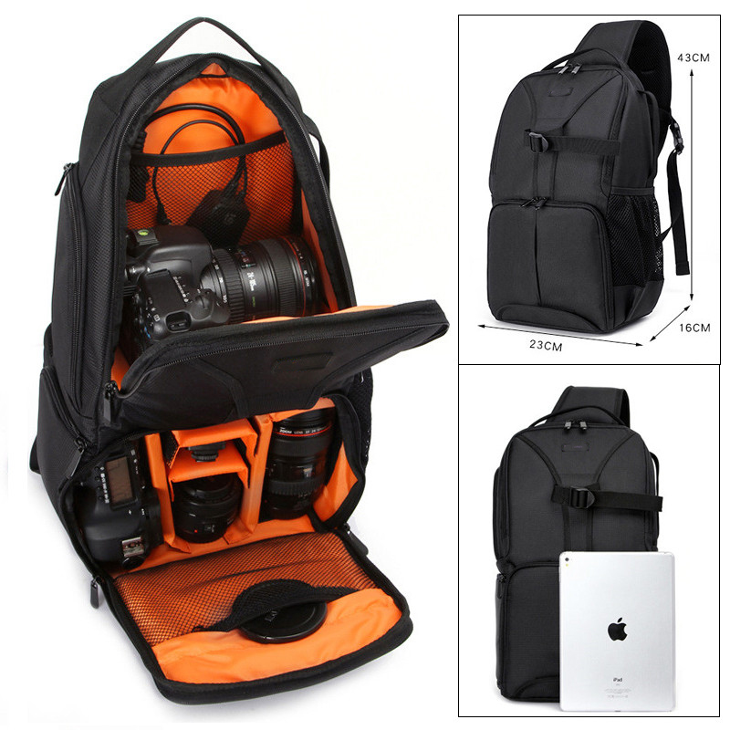 ightpro Photo Waterproof DSLR SLR Sling Flipside Camera Orange Nylon Bag Backpack Outdoor Shoulder Bag for Canon Nikon Sony benro smart 200 nylon waterproof backpack bag for dslr camera