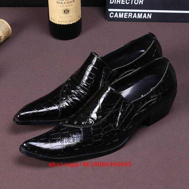 Italian Men Shoes Luxury Brand Sapato Social Mens Pointed Toe Dress Black Wedding Formal Clic