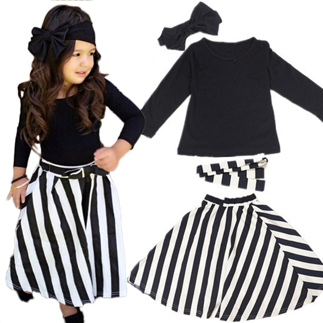 Girls 4 Pcs Set Navy blue Long Sleeve T Shirt+Striped Skirt+Headband+Belt Baby Girl Clothing Sets Children Costumes Outfits 2T-7