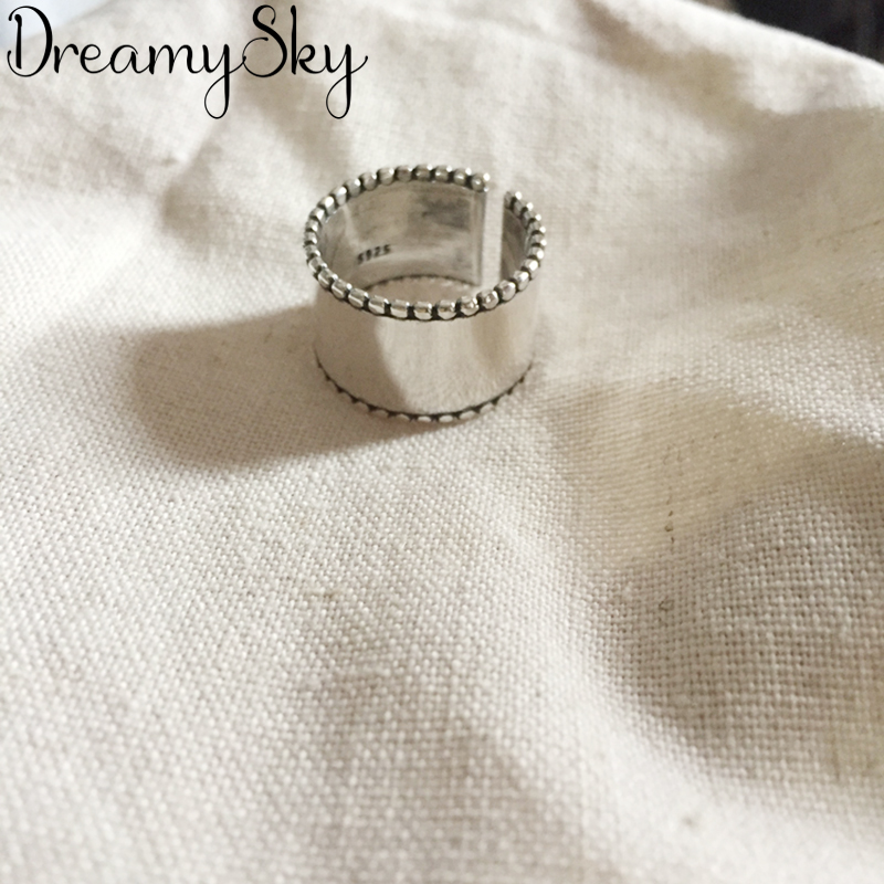Exaggerated Personality 925 Sterling Silver Big Rings For Women Wedding Jewelry Adjustable Antique Finger Ring Anillos