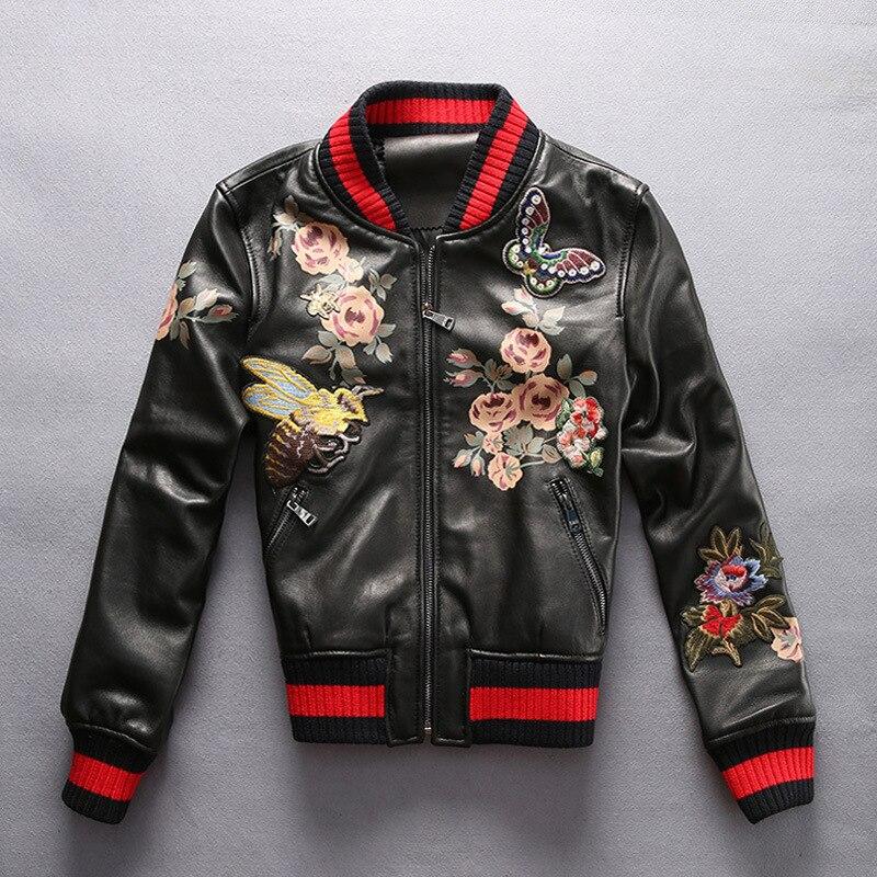 Fashion fly embroidery flight bomber jacket sheepskin slim baseball collar pilot leather jacket womens female mortorcycle blazer