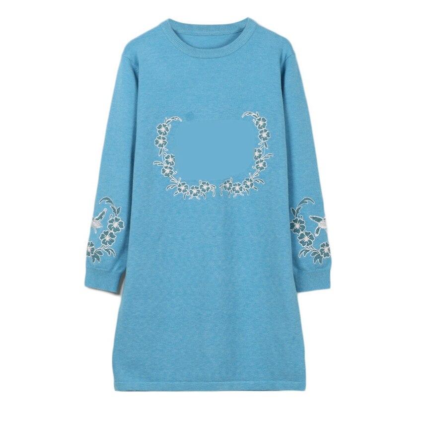 78b33345f4a Bleu Tricots Jumper Femmes cou Vintage pu O Robe Lettre Floral Longues Bleu  Droite Pull À Solide Broderie Manches ...