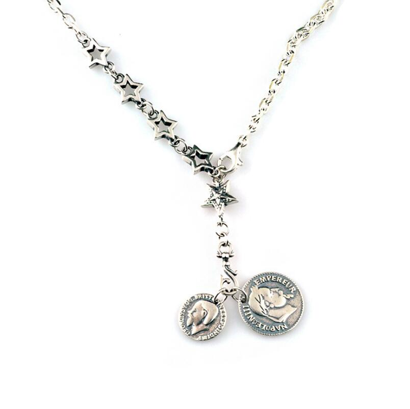 Sterling 925 thai argent double avatar argent pièce pendentif collier bijoux (YRT)