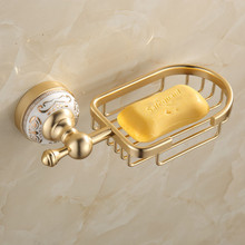 Gold soap dishes holder space Aluminum bathroom accessories toilet soap box Europe style luxury wall-mounted soap grid basket
