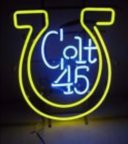 Vintage Colt 45 Malt Liquor Glass Neon Light Sign Beer Bar