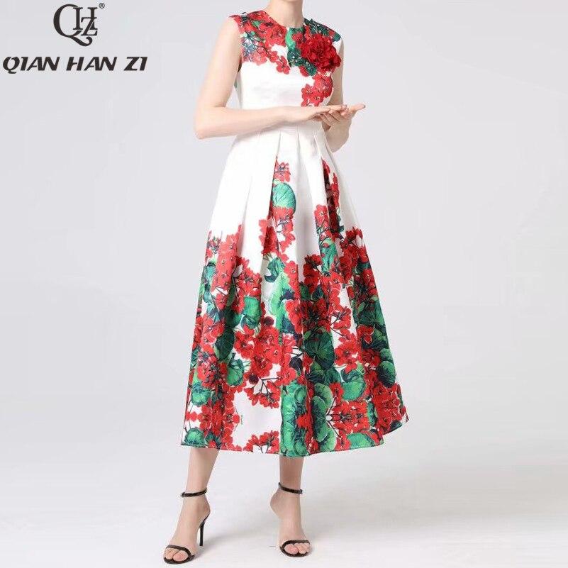 Kadın Giyim'ten Elbiseler'de Qian Han Zi Tasarımcı Pist Maxi elbise kadın Kolsuz Vintage Çiçek Baskı Ince Aplike Zarif uzun elbise 4XL Artı Boyutu'da  Grup 3