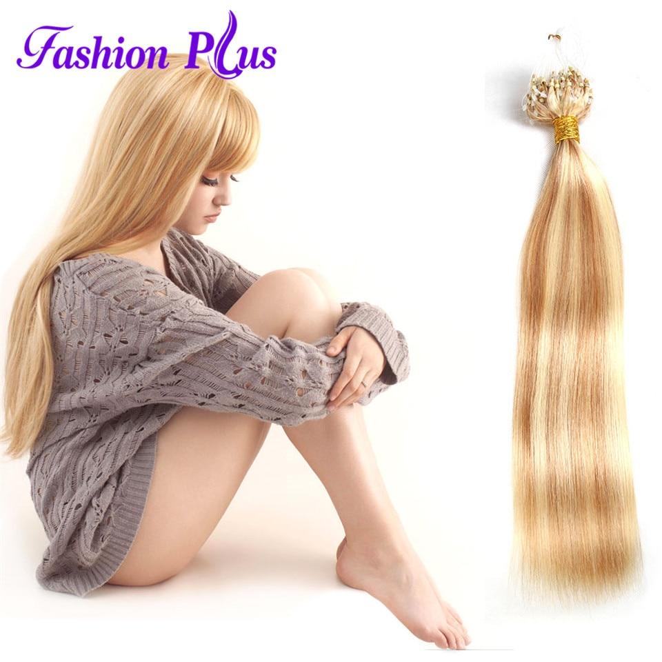 Unprocessed Virgin Peruvian Hair 7A Micro Loop Ring - Mänskligt hår (vit)