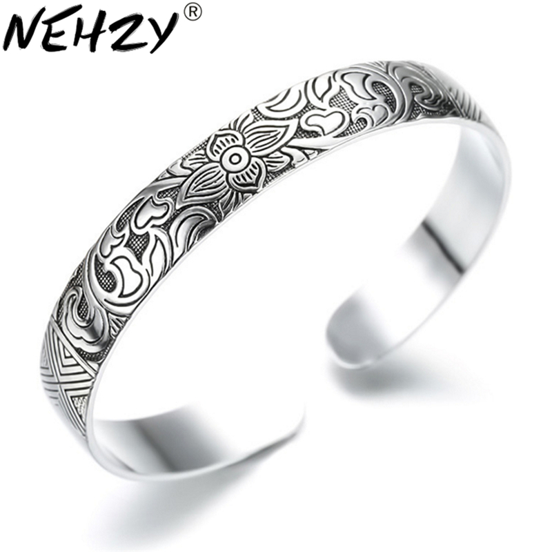 Lotus Thai Silver Brand bracelet retro silver leaf black bracelet Men Women New jewelry fashion retro high-quality Bangles