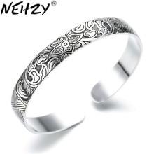 Brazalete para hombre o mujer loto plata Tailandesa estilo retro con hoja de plata joyería de moda retro brazaletes de alta calidad