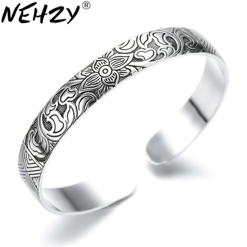 NEHZY925 sterling silver Jewelry Lotus retro silver leaf black bracelet Men Women New jewelry fashion retro high-quality Bangles