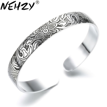 цена NEHZY925 sterling silver Jewelry Lotus retro silver leaf black bracelet Men Women New jewelry fashion retro high-quality Bangles онлайн в 2017 году