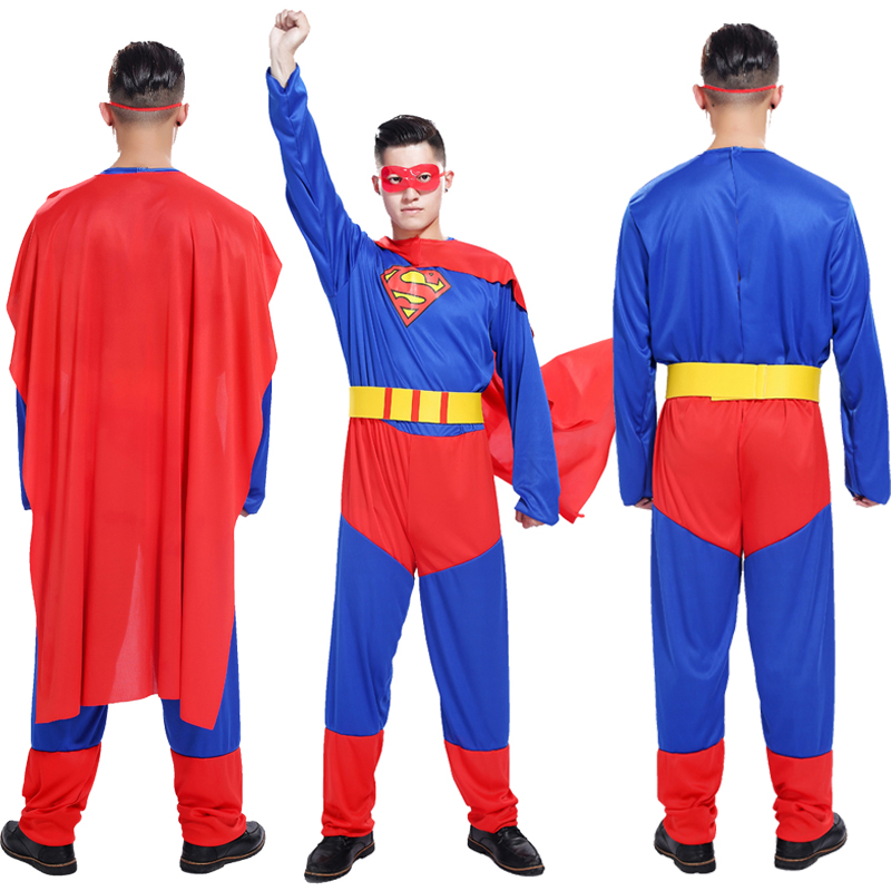 Free shipping Superman Halloween costume cosplay adult male masquerade performances Superman party performance clothing