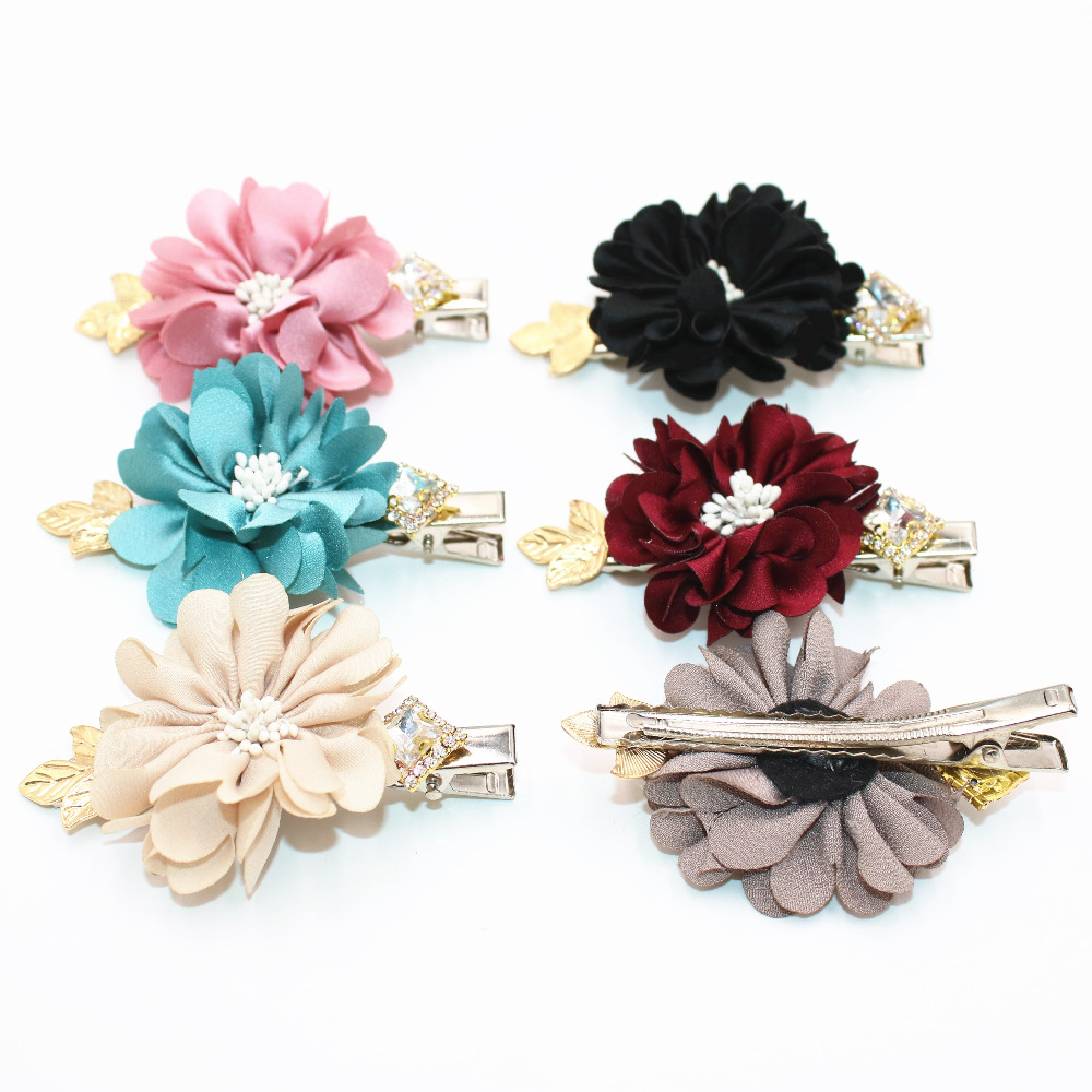 2Pcs lot New Beautiful Chiffon Flowers Girls Hair Clip Band Hairpins Kids Barrettes Gift Hair Accessories