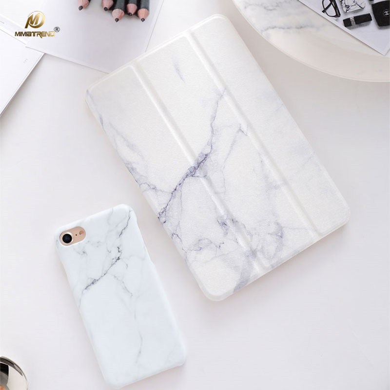 Mimiatrend New White Marble Grain PU Case for iPad Pro 10.5 Air Air2 Mini 1 2 3 4 5 Tablet Case Shell With Screen Protector simple blue sky flip cover for ipad pro 9 7 10 5 air air2 mini 1 2 3 4 tablet case protective shell for new ipad 9 7 2017 a1822