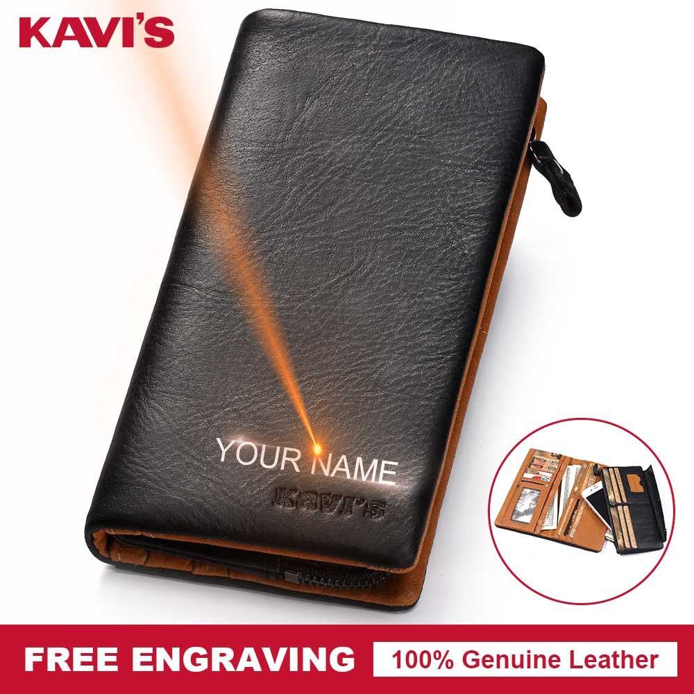 KAVIS Genuine Leather Wallet Men Coin Purse Gift for Male Clutch Walet Portomonee PORTFOLIO Money Bag LONG Handy Big Capacity