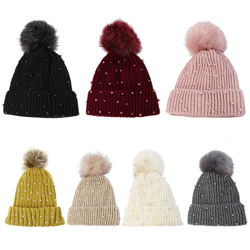 Women Winter Ribbed Knit Hat Vertical Striped Solid Color Cute Fluffy Pompom Ball Cuffed Beanie Cap Full Faux Pearl Beaded Decor