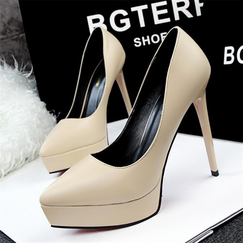 Women 39 s high heels fashion simple sexy slim stiletto super high heels shallow mouth pointed waterproof platform women 39 s shoes in Women 39 s Pumps from Shoes