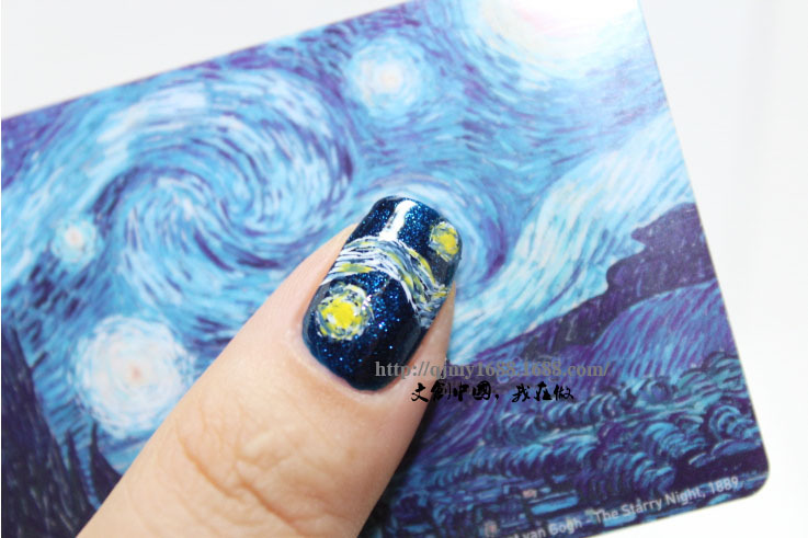 1 st Vincent van Gogh sjabloon Nail Sticker Art Water Slide Decals - Nagel kunst - Foto 3