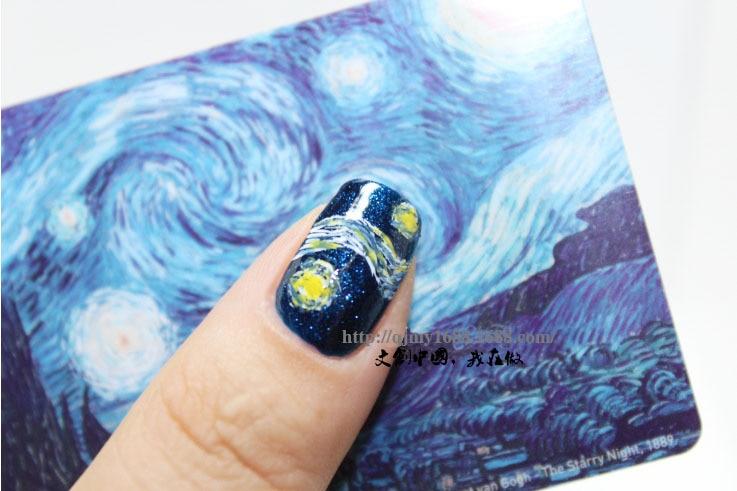 1 unid plantilla de Vincent van Gogh Etiqueta Engomada Del Clavo Del - Arte de uñas - foto 3