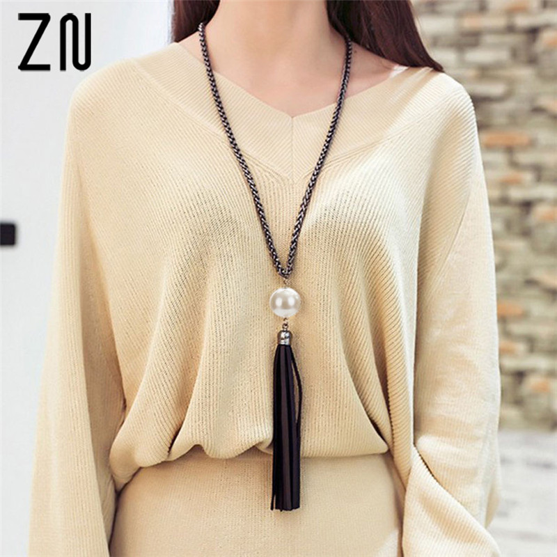 ZN 2018 NEW Arrival Tassel Pendant Sweater Chain Long Beads Necklace For Women Girls Fashion Jewelry Gift in Pendant Necklaces from Jewelry Accessories