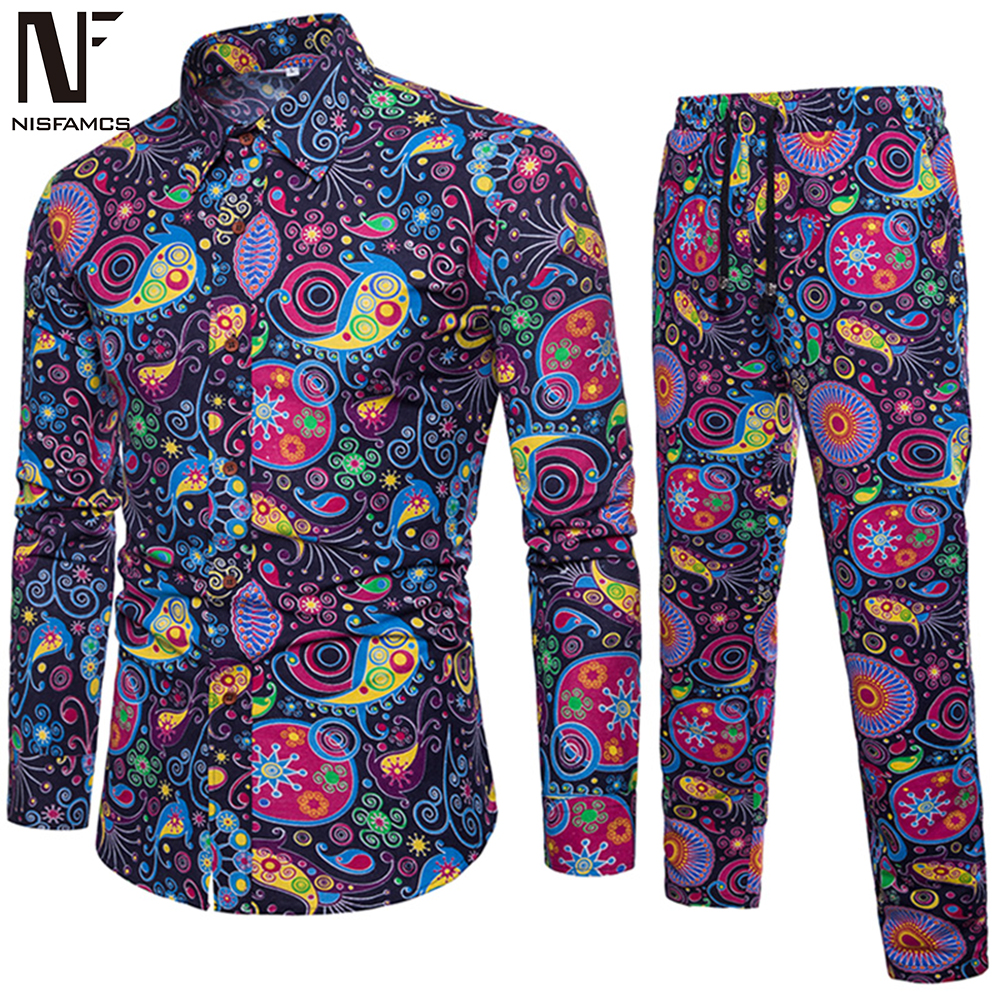 Colorful Print Set Suit Men Fitness 5XL Streetwear New Arrival Cool Hawaiian Clothing Flower Casual Shirt + Long Pant Sets Suits