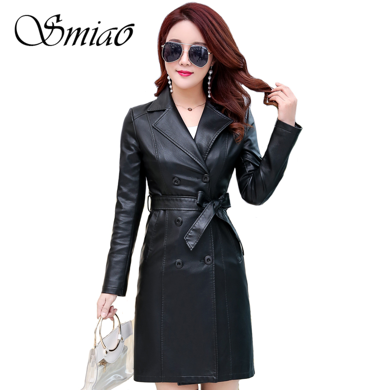 Smiao 2018 Autumn Winter   Leather   Jacket Women Big Size Double Breasted   Leather   Coat Women Long Trench Coat Belt Plus Size 6XL