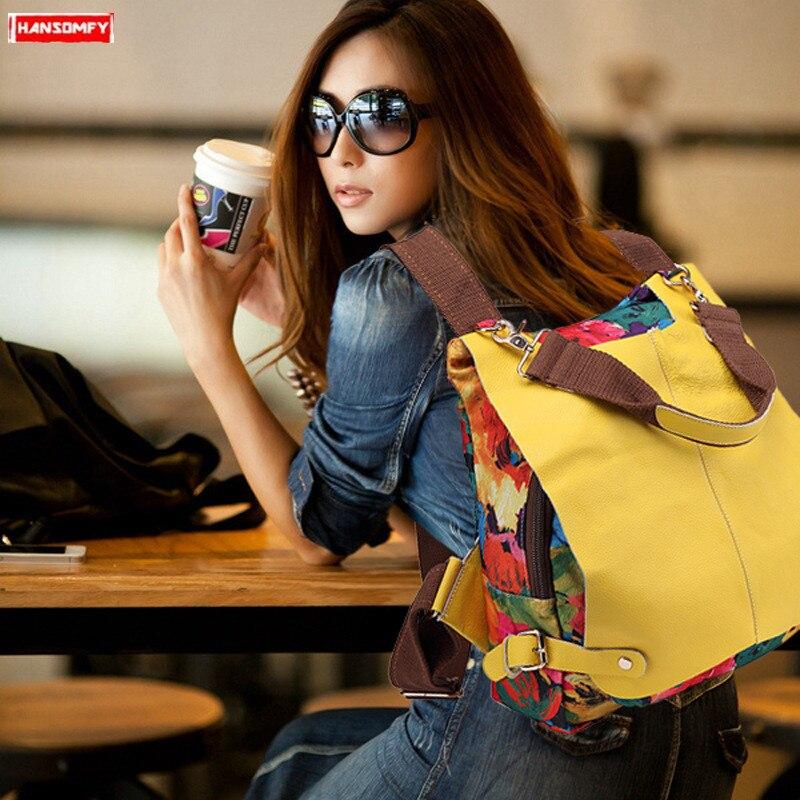 2019 toile avec peau de vache femmes sac à dos impression sac à bandoulière femme couleur correspondant sac multifonction en cuir véritable sacs à dos
